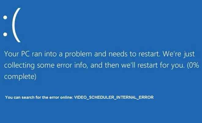 Как исправить внутреннюю ошибку BSOD планировщика видео в Windows 10
