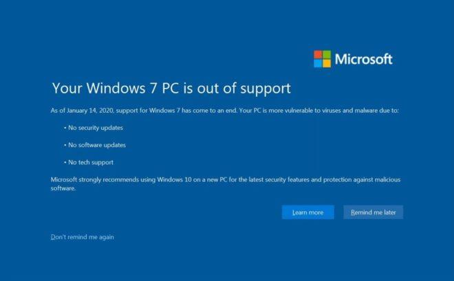 Windows 7: как отключить полноэкранное уведомление об окончании поддержки